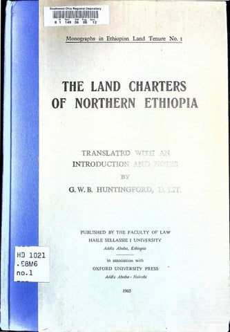 The Land Charters of Northern Ethiopia by G  W  B  Huntingford by