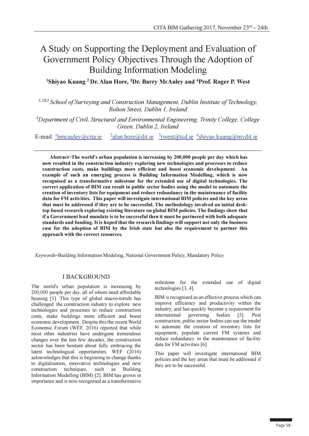 Study on supporting the deployment and evaluation bim gathering by