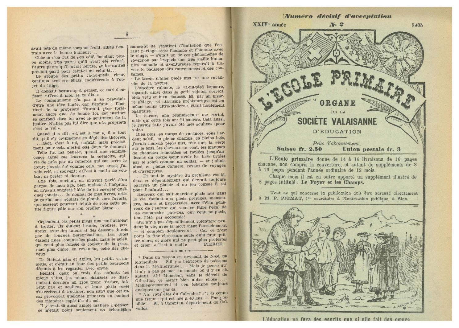 No 02 L Ecole Primaire 16 Janvier 1905 By Resonances Mensuel De