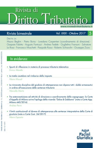 6c80243133 Rivista Diritto Tributario 5/2017 by Pacini Editore - issuu