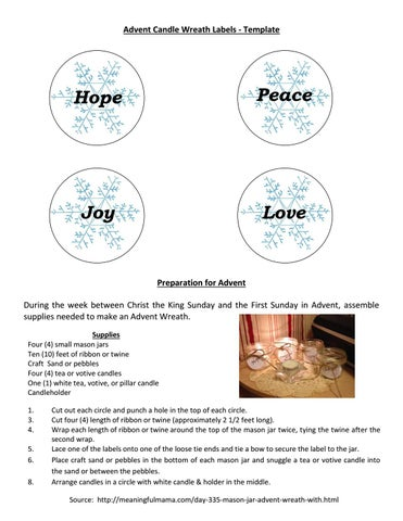 Advent Candle Wreath Labels Template