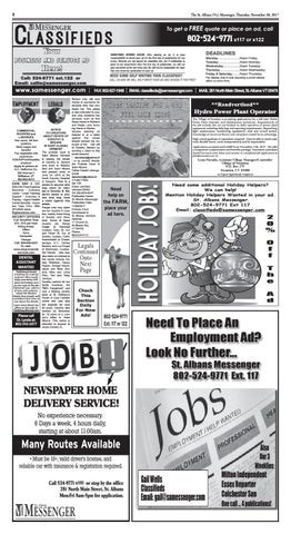 11/30/2017 Classifieds by St  Albans Messenger - issuu