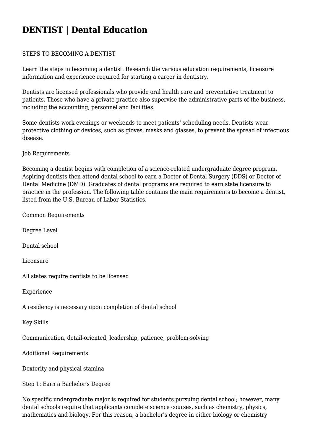 DENTIST | Dental Education    by worthlessinform08 - issuu