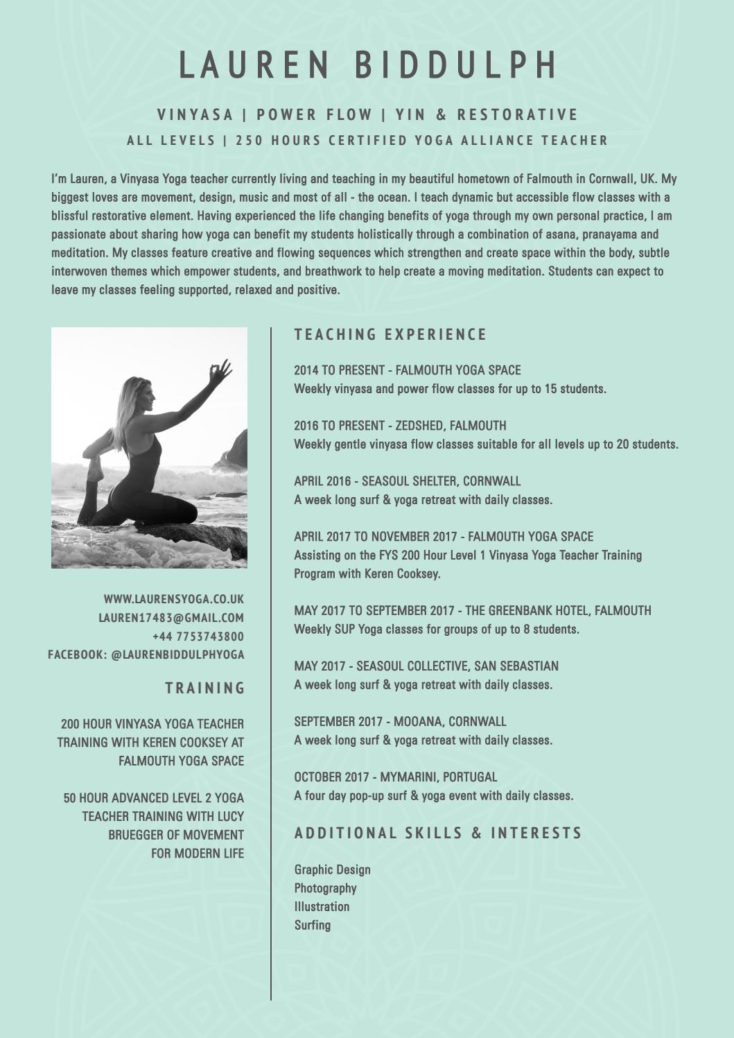 Lauren Biddulph Yoga Cv By Lauren Biddulph Issuu