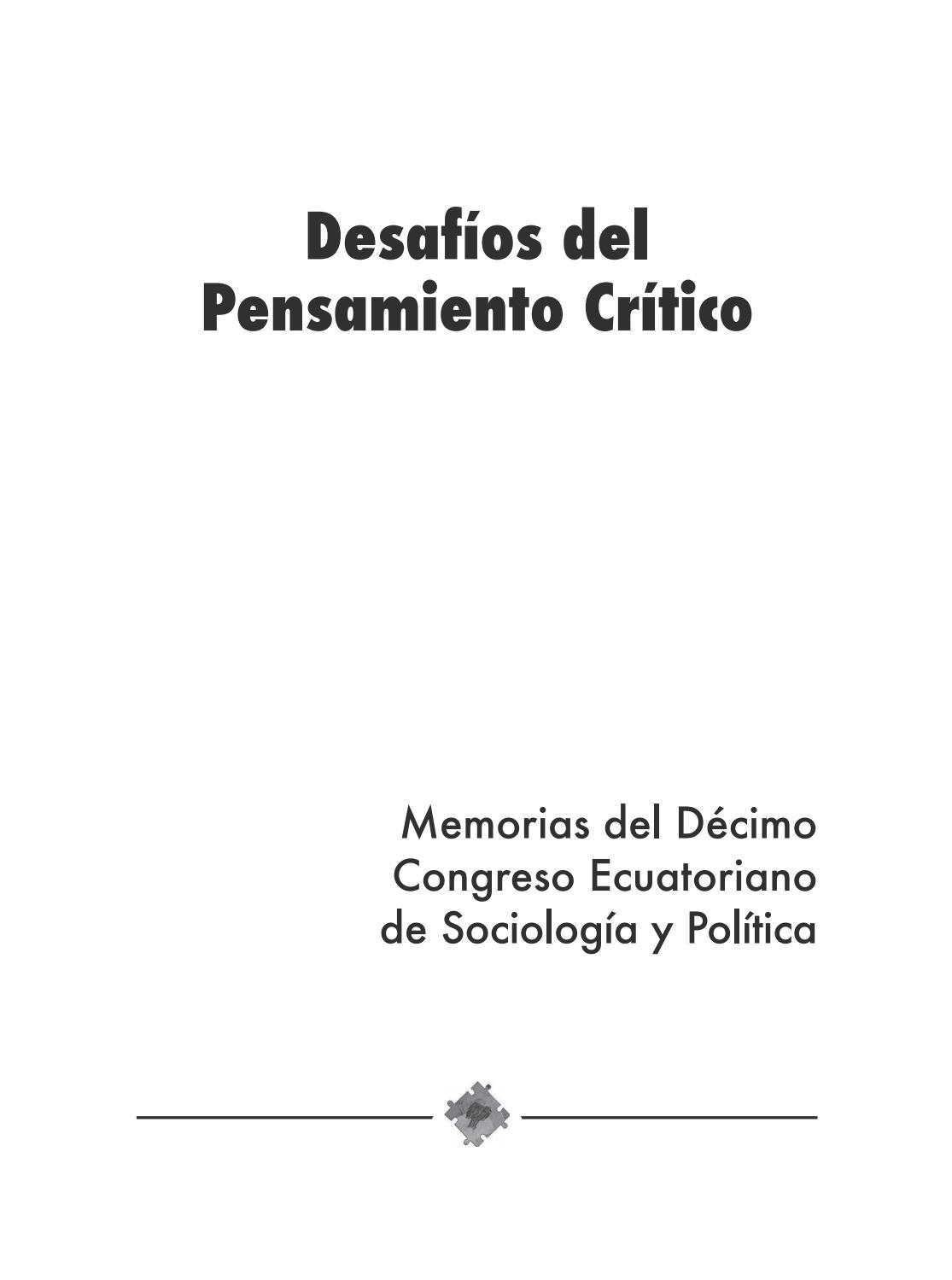 Desafíos del Pensamiento Crítico by uce40 - issuu