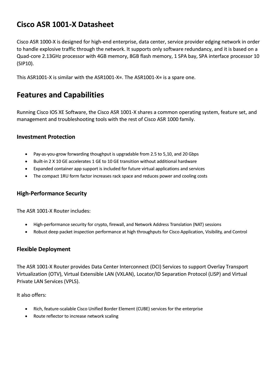 Cisco asr 1001 x datasheet by Genevicost - issuu