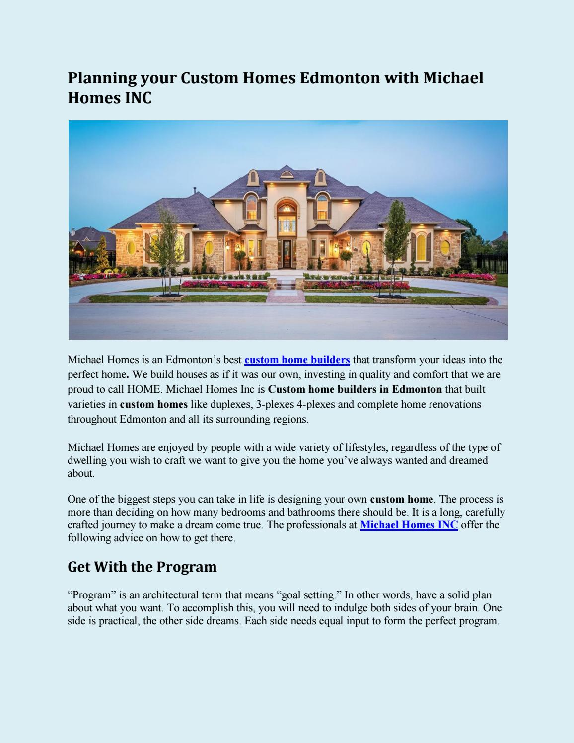Planning Your Custom Homes Edmonton With Michael Homes Inc By