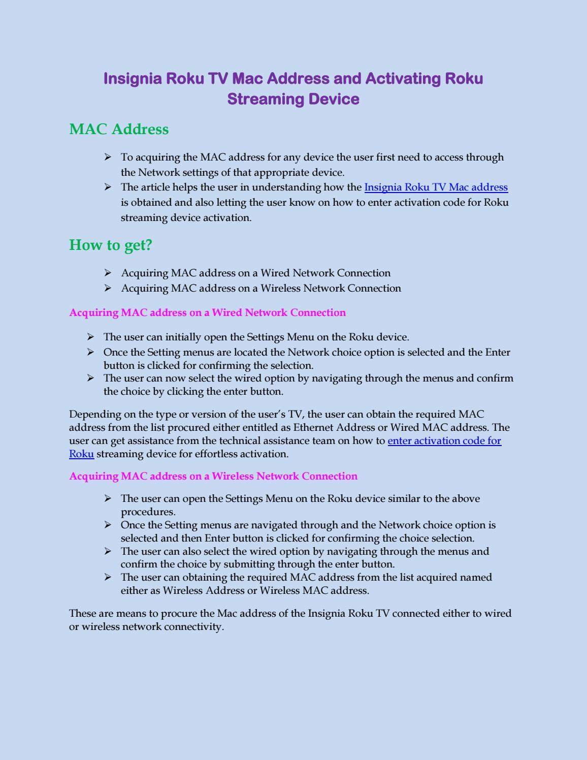 Insignia Roku TV Mac Address and Activating Roku Streaming