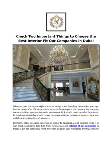 check two important things to choose the best interior fit out