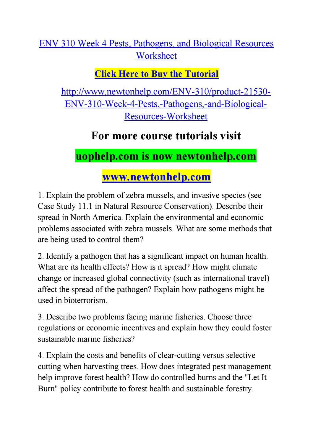 Env 310 week 4 pests, pathogens, and biological resources worksheet