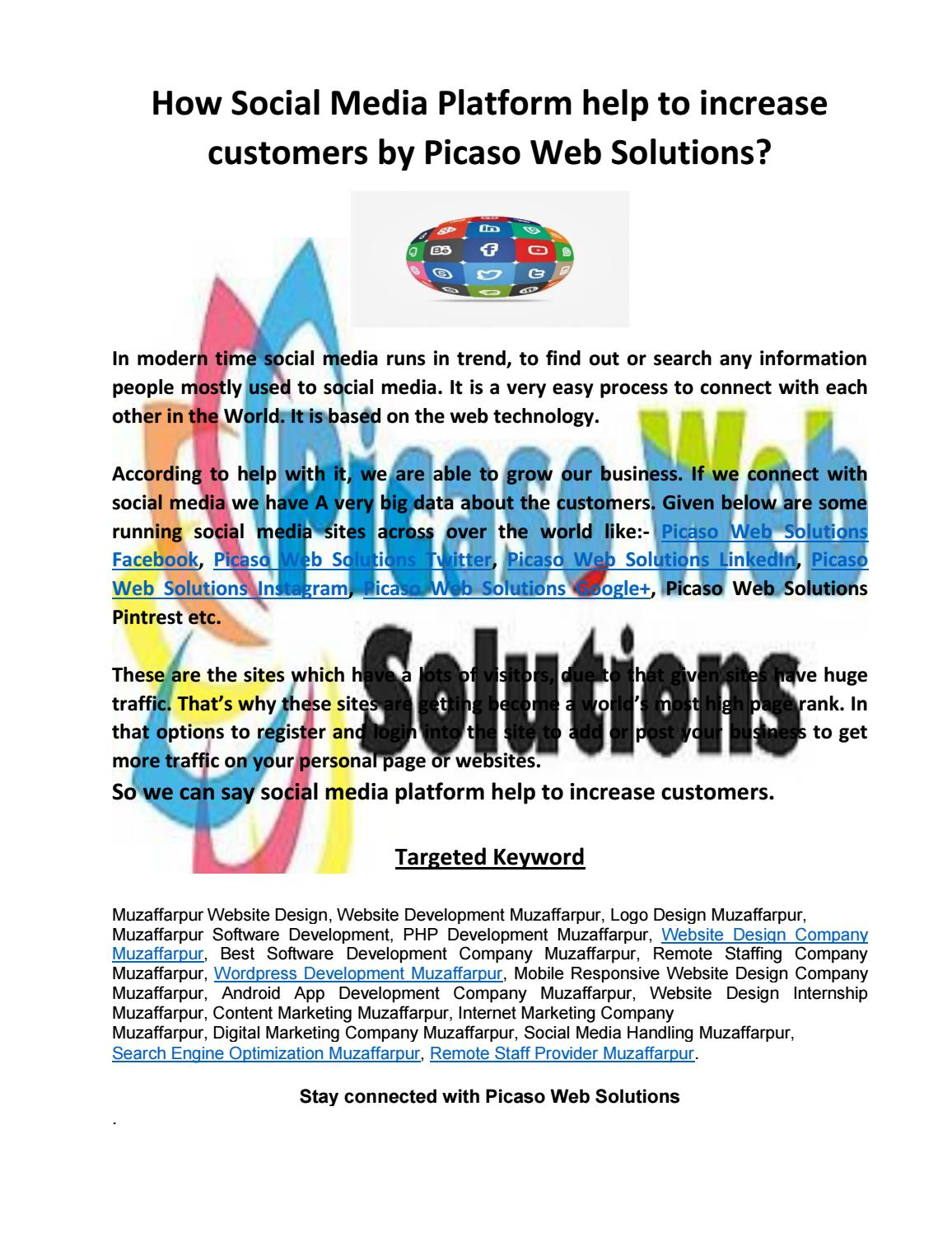 How social media platform help to increase customers by picaso web