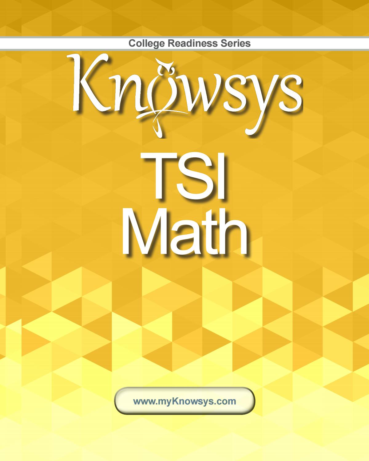 Knowsys TSI Math Sample by Knowsys Educational Services - issuu