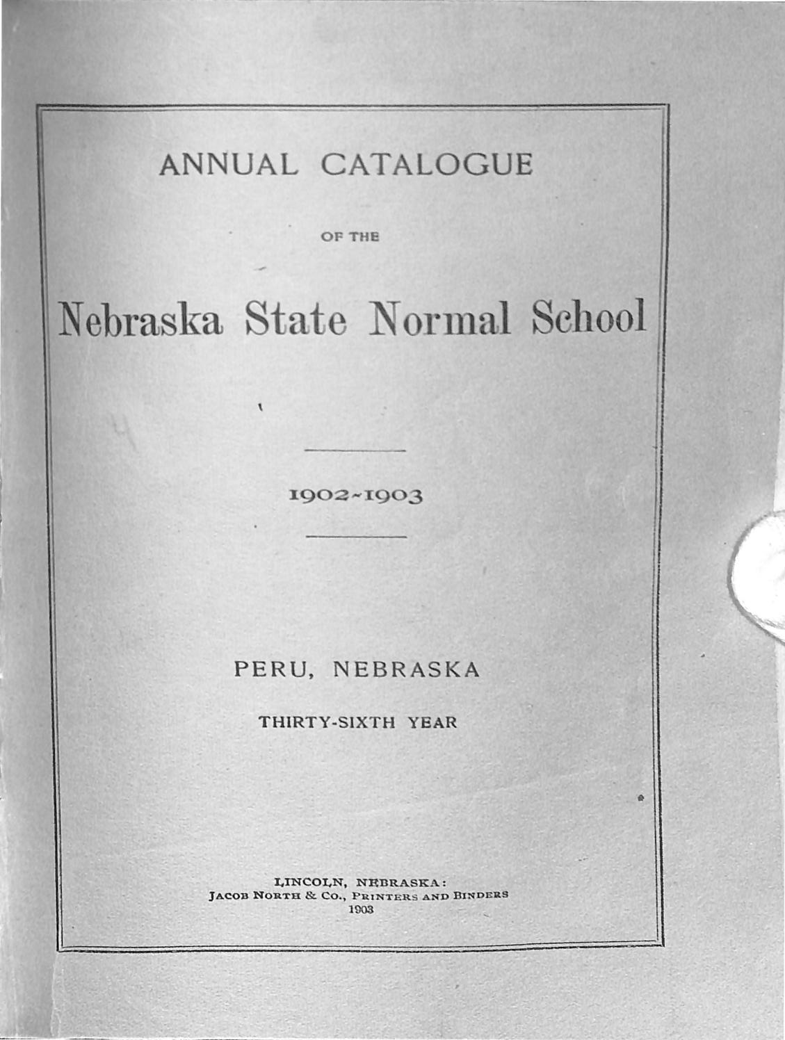 1902 Catalogue Of The State Normal School Of Nebraska Peru By Peru
