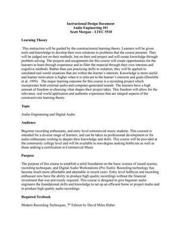 Instructional Design Document By Me Issuu - Audio design document