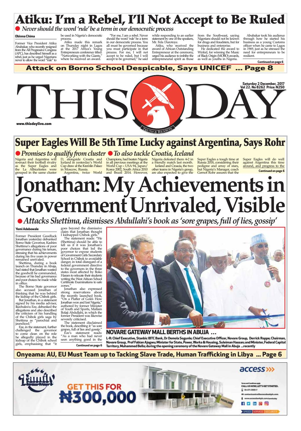Saturday 2nd December 2017 By Thisday Newspapers Ltd Issuu
