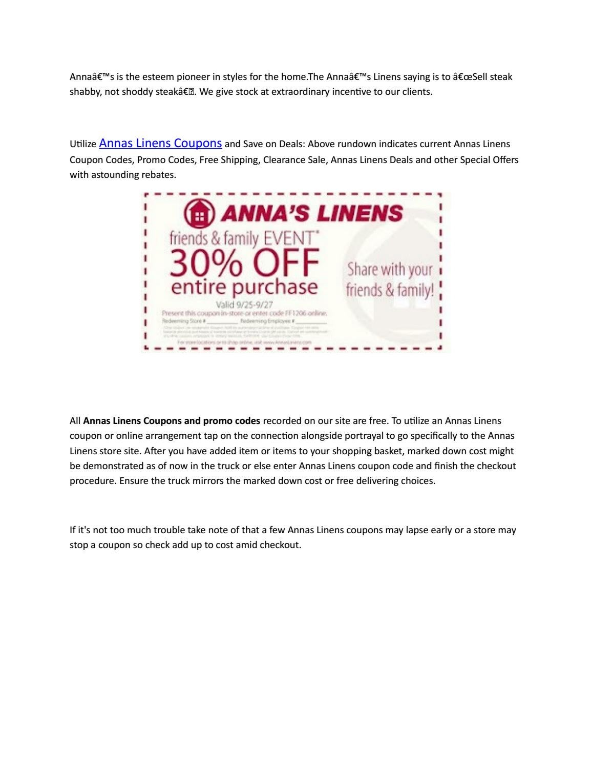annas linens in store coupons