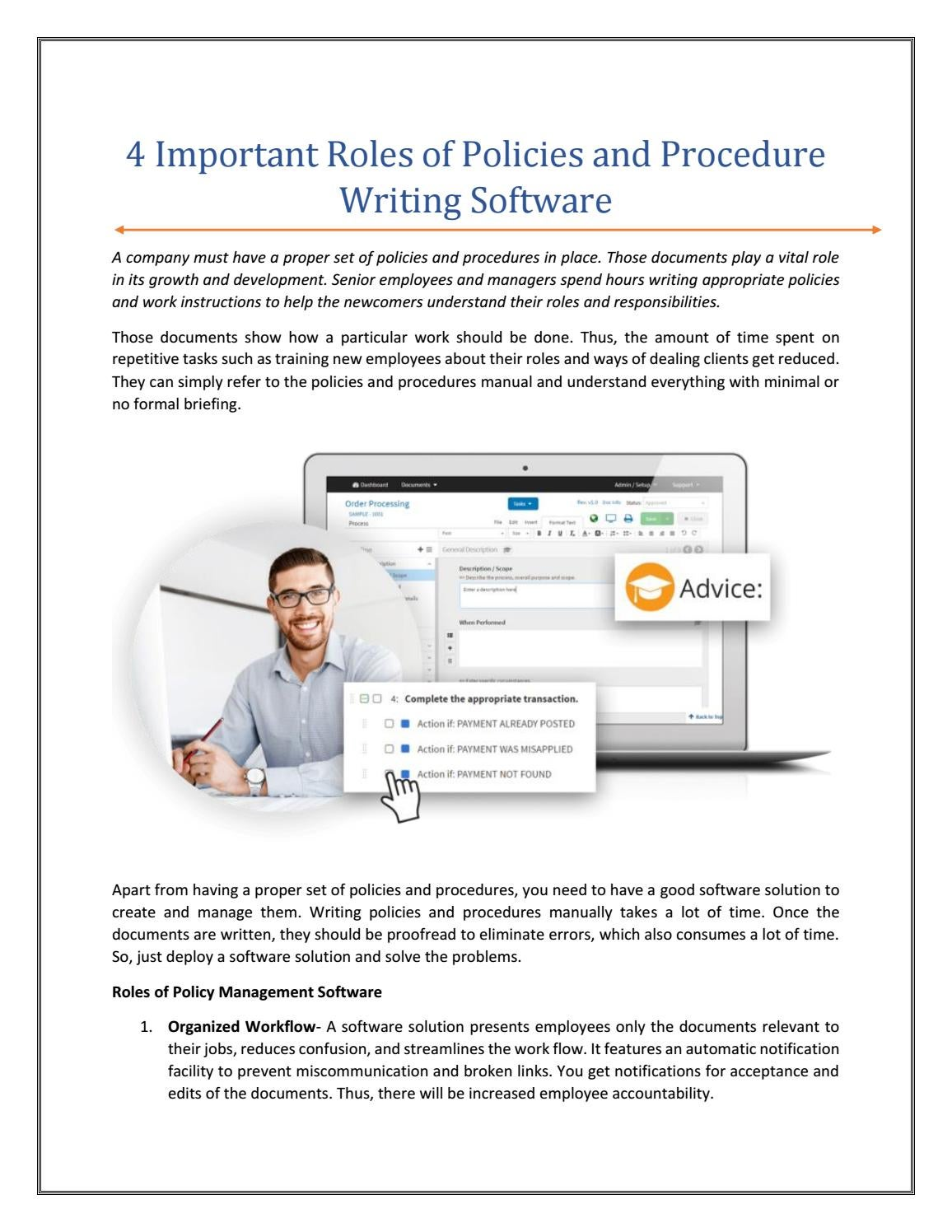 Pdf 4 Important Roles Of Policies And Procedure Writing Software By