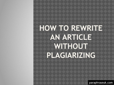how to paraphrase without plagiarizing