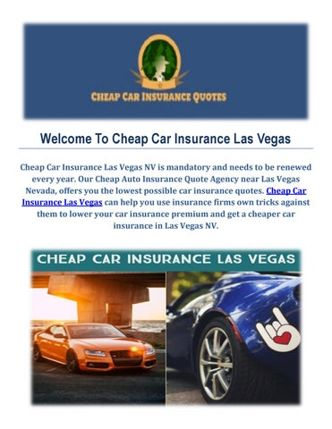 Car Insurance Quotes Las Vegas Stunning Get Cheap Car Insurance Quotes In Las Vegas By Cheap Car Insurance