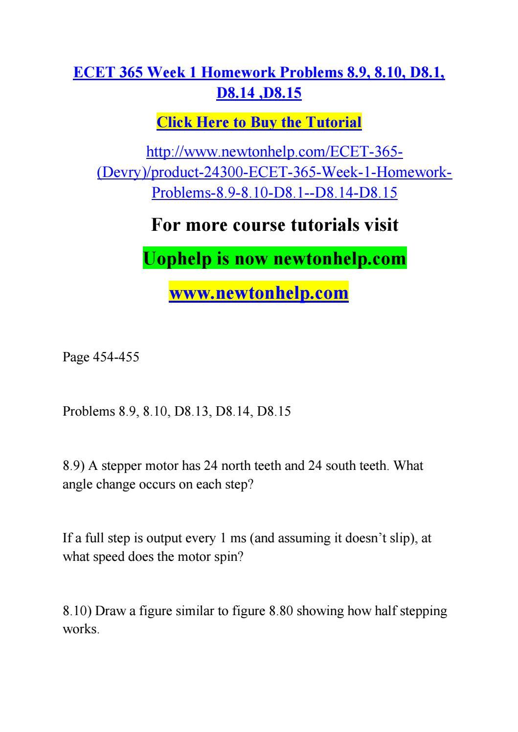 ecet 365 week 1 homework