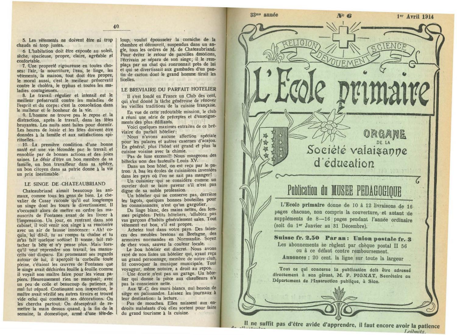 No 06 L Ecole Primaire 1er Avril 1914 By Resonances Mensuel De L Ecole Valaisanne Issuu