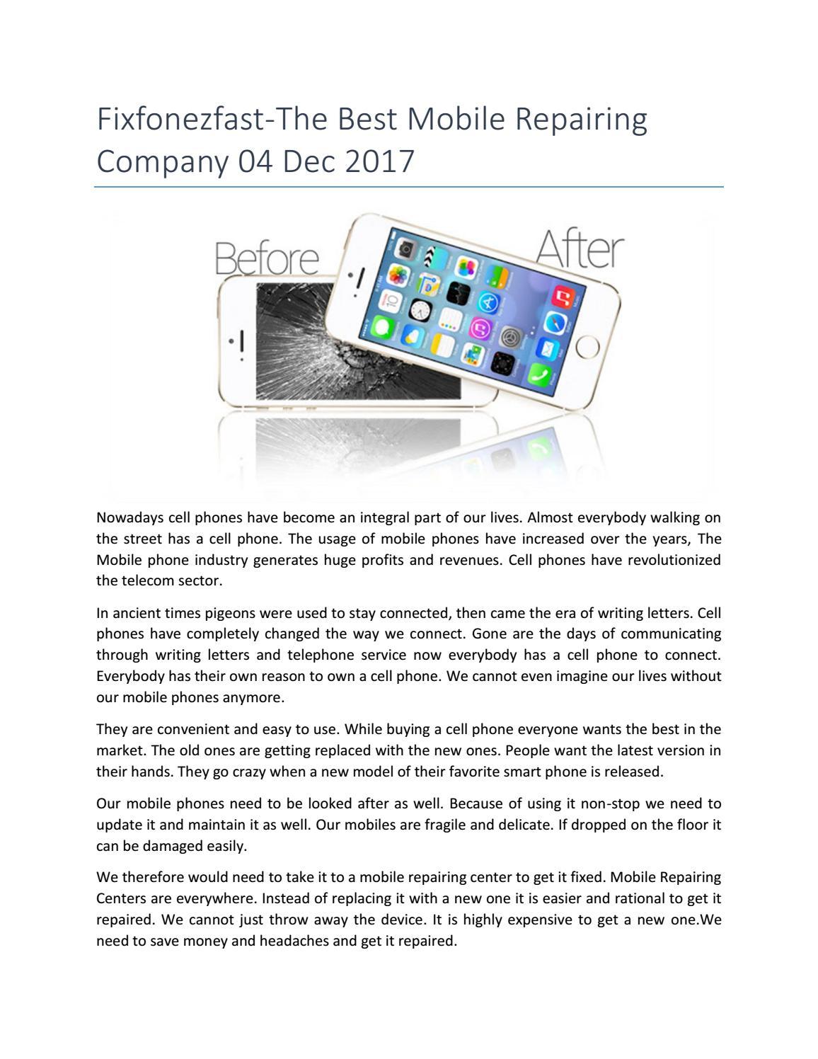 Fixfonezfast the best mobile repairing company 04 dec 2017