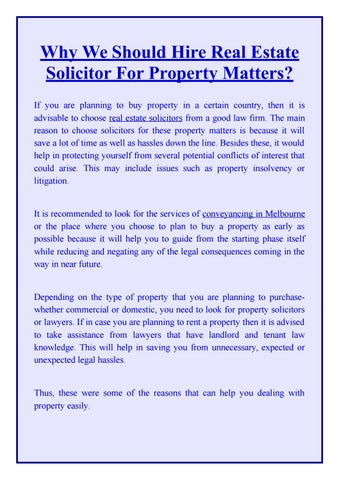 Why we should hire real estate solicitor for property matters by why we should hire real estate solicitor for property matters if you are planning to buy property in a certain country then it is advisable to choose real solutioingenieria Gallery