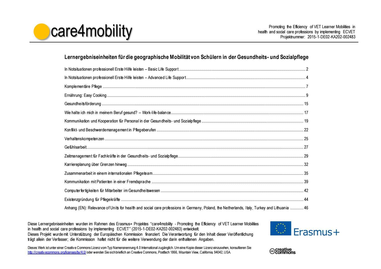 care4mobility Lernergebniseinheiten für die geographische Mobilität ...
