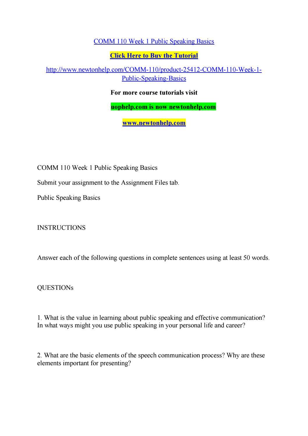 Comm 110 week 1 public speaking basics by beautifulflower ...