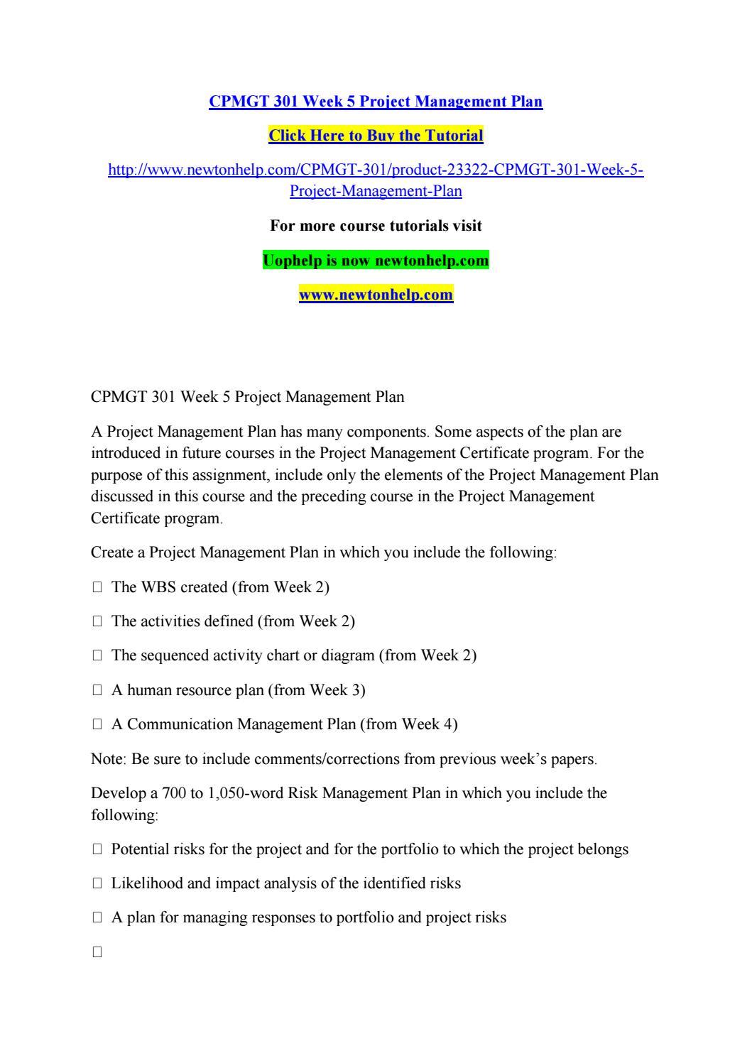 Cpmgt 301 Week 5 Project Management Plan By Beautifulflowersg