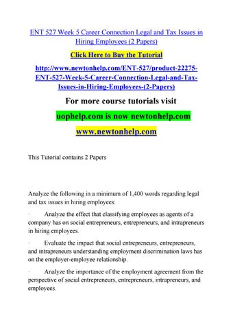 Ent 527 week 5 career connection legal and tax issues in