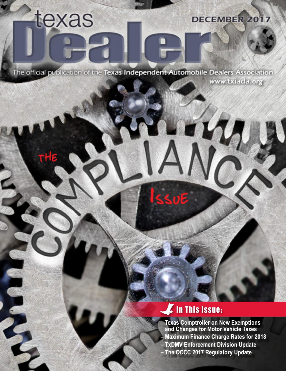 Texas Dealer December 2017 by Texas Independent Auto Dealers