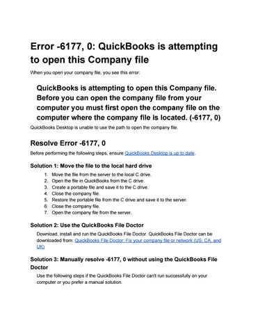 Error 6177, 0 quickbooks is attempting to open this company