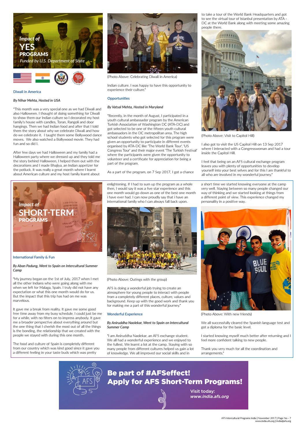 AFS Intercultural Programs India Newsletter   November 2017