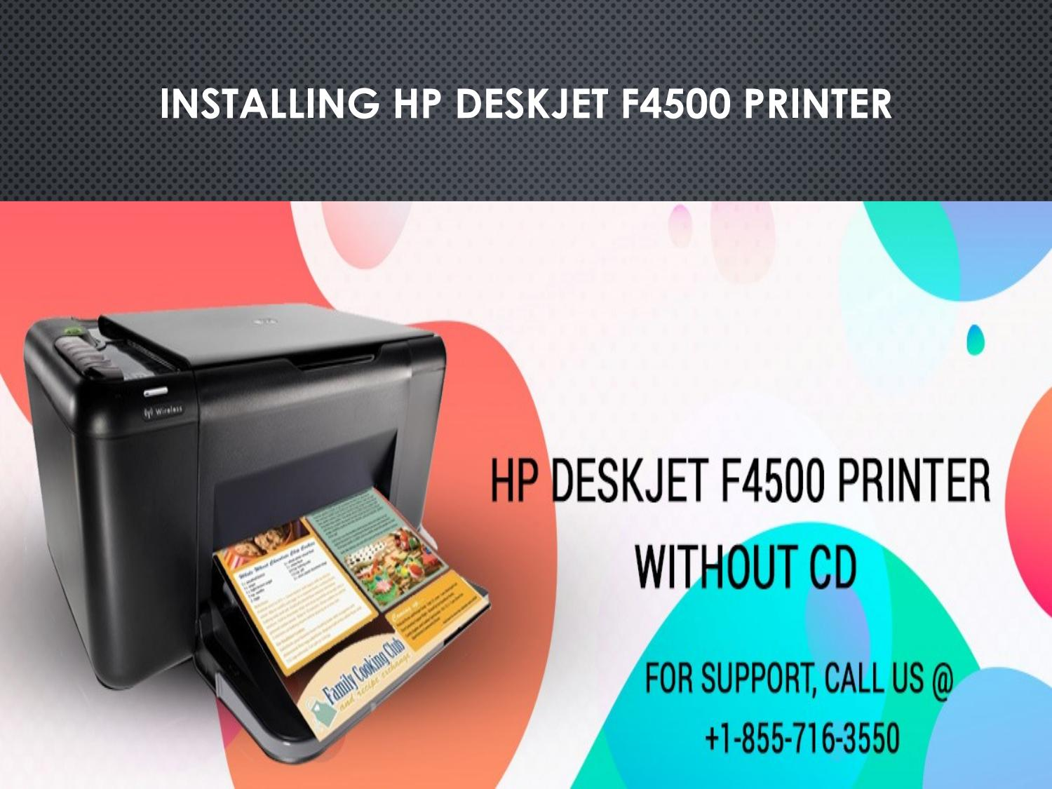How to Install HP DeskJet F4500 printer without CD by 123-HP