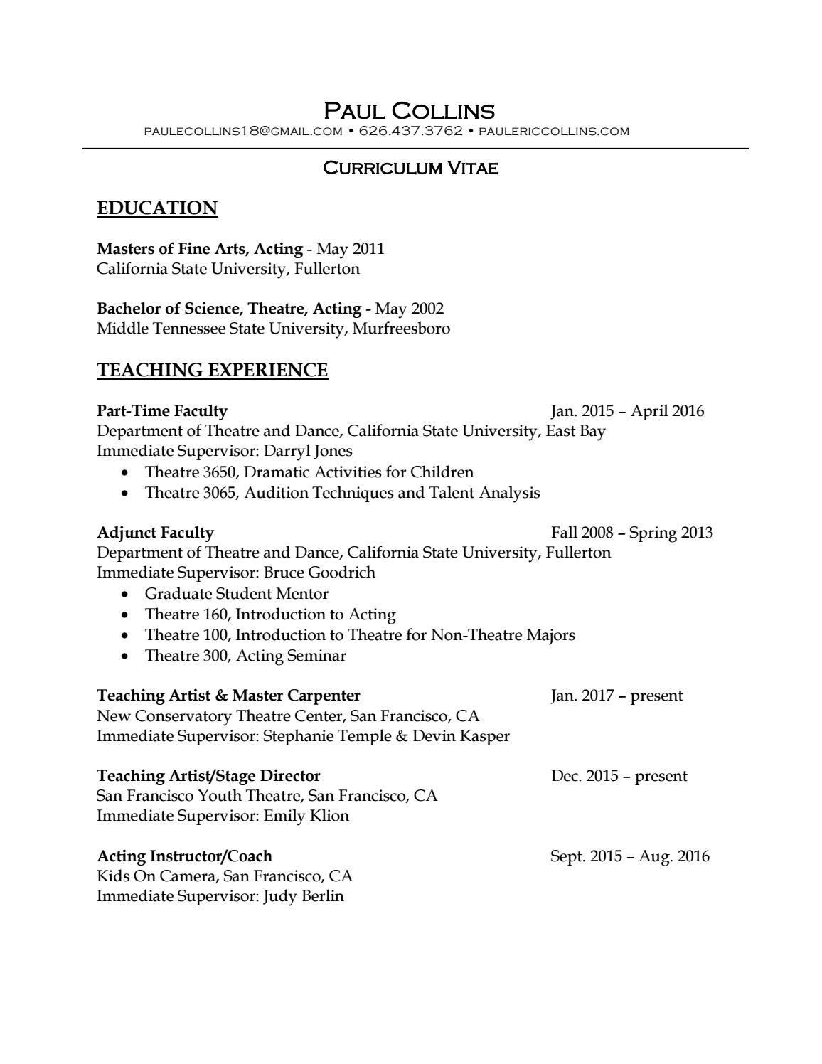 Paul Collins Curriculum Vitae By Paulecollins18 Issuu