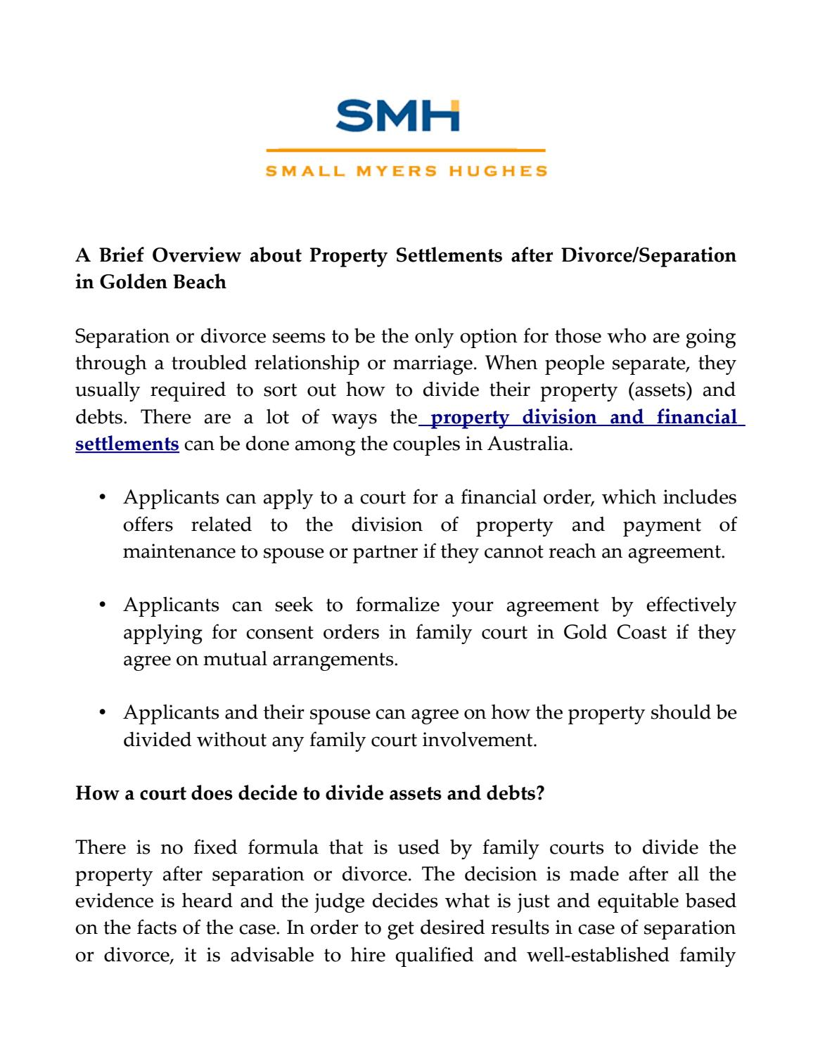 A Brief Overview About Property Settlements After Divorceseparation