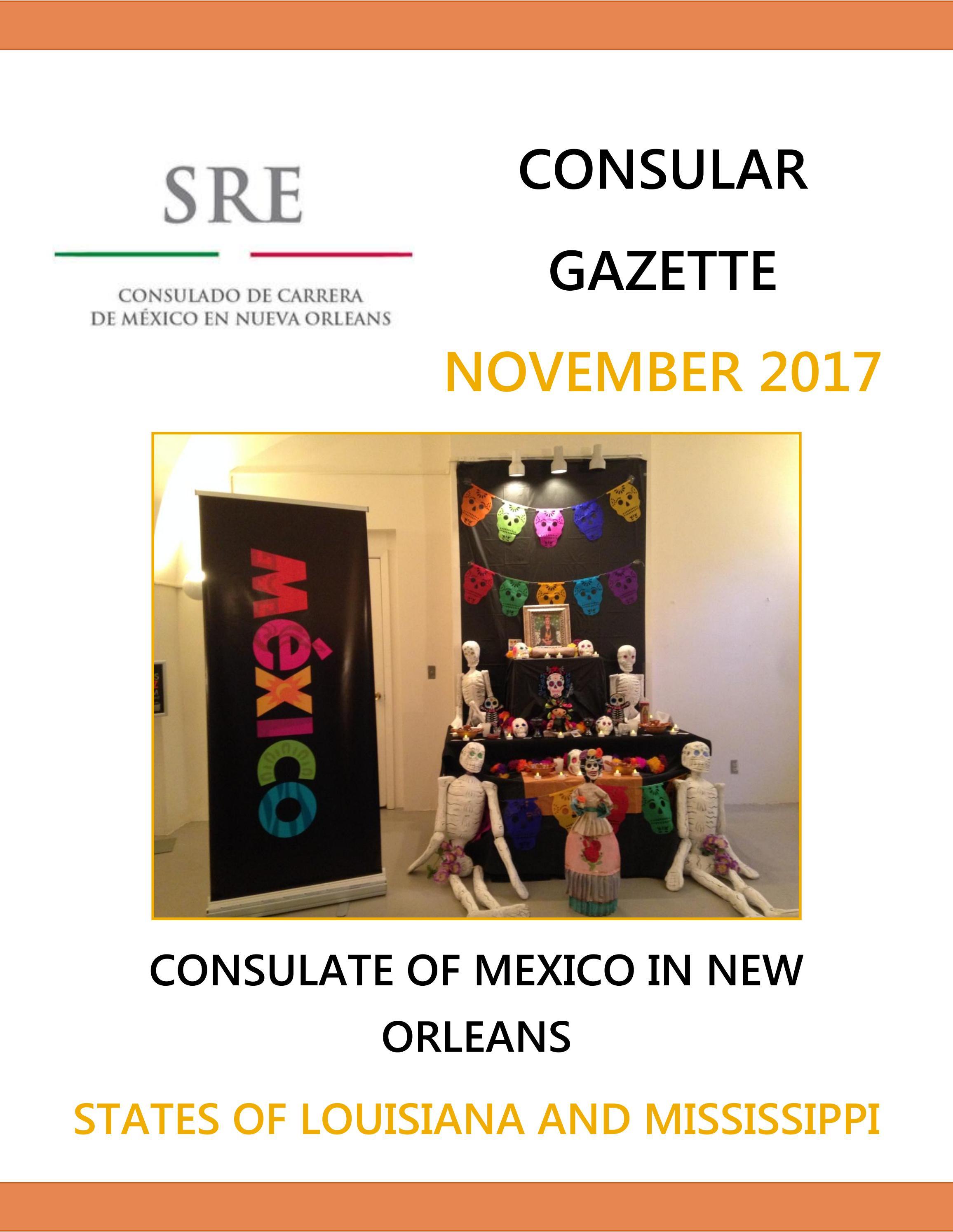 Consular Gazette November 2017, Consulate of Mexico in New