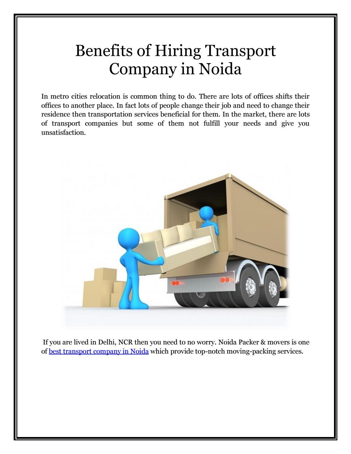 Benefits of hiring transport company in noida by noidapackermoversin