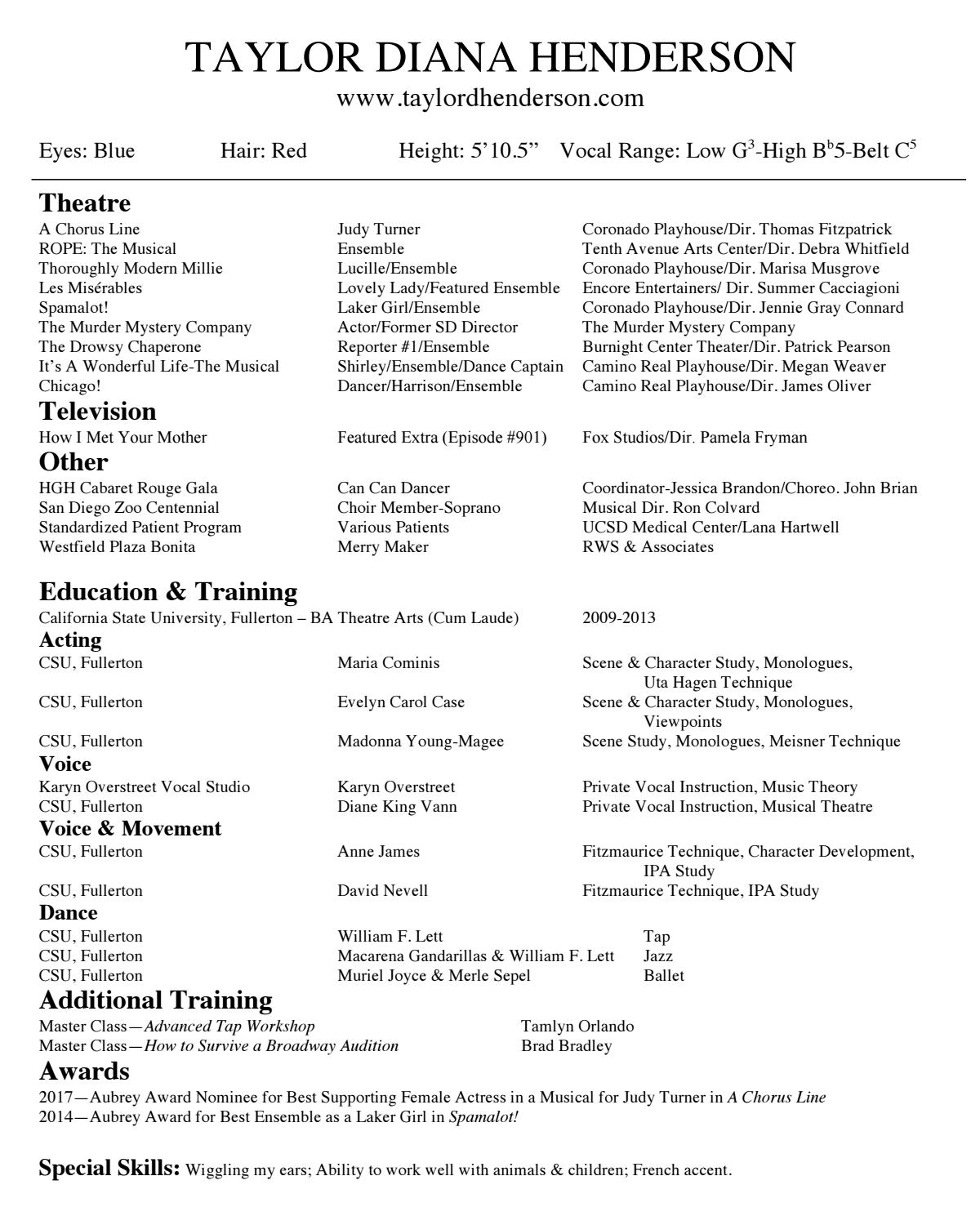 Taylor Diana Henderson Performance Resume by Taylor