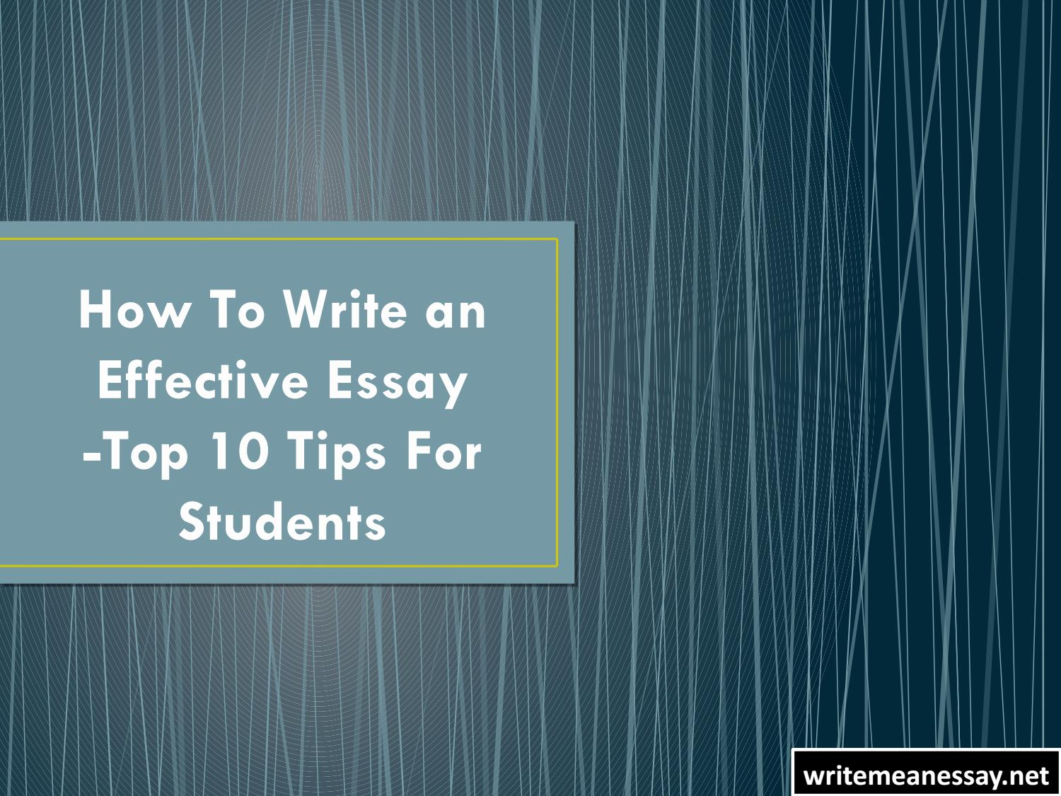 """essay on how to study effectively Why does the word """"essay"""" strike terror into the hearts of students  humour –  satire and irony can be very effective in an academic essay."""