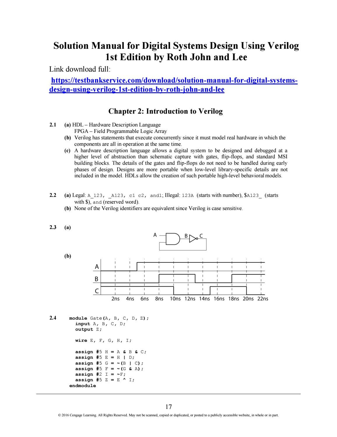Solution Manual For Digital Systems Design Using Verilog 1st Edition By Roth John And Lee By Blueskymartin Issuu