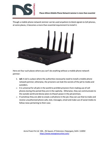 Places where mobile phone network jammer is more than essential by