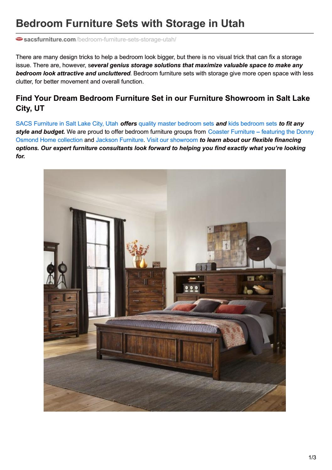 Bedroom furniture sets with storage in utah by SACS Furniture - issuu