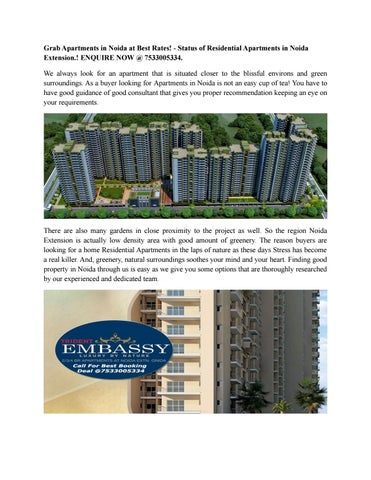 Grab Apartments In Noida At Best Rates Status Of Residential Extension Enquire Now 7533005334 We Always Look For An Apartment