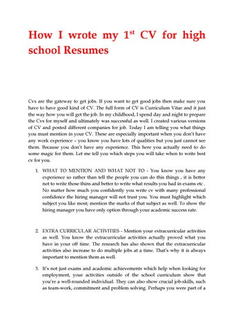 How I Wrote My 1st Cv For High School Resumes By Seoworld77 Issuu