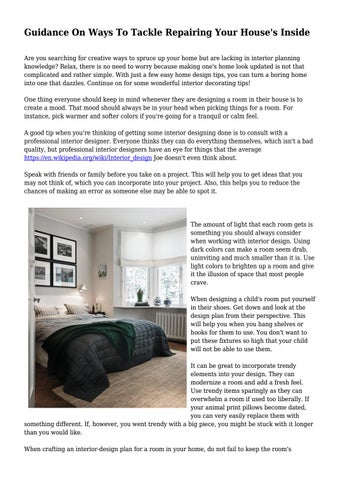 Guidance On Ways To Tackle Repairing Your House\u0027s Inside Are you searching for creative ways to spruce up your home but are lacking in interior planning ...