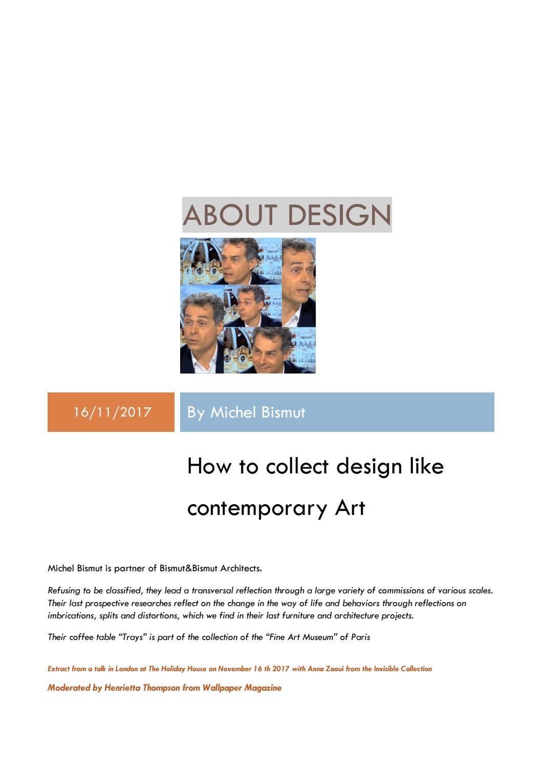 Bismut & Bismut Architectes about collectible designmichel bismutbismut&bismut