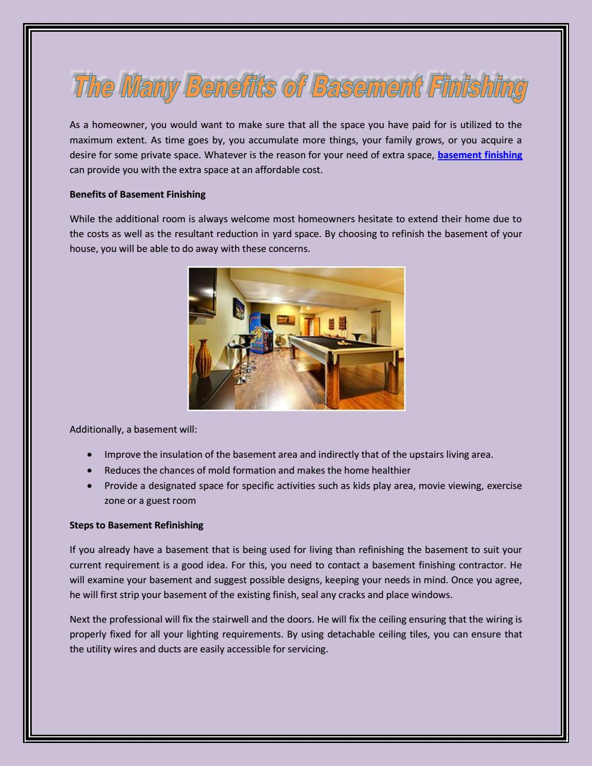 Extend Your Home By Basement Finishing Finishedbasement Issuu Wiring Insulation