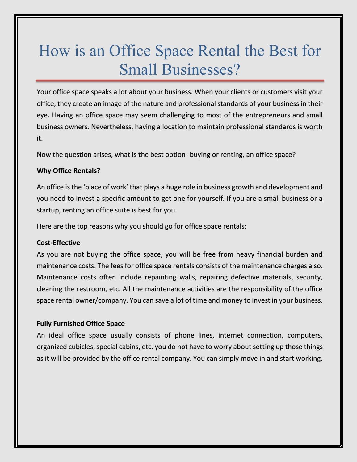 How Is An Office Space Rental The Best For Small Businesses By Metro Office Centers Issuu